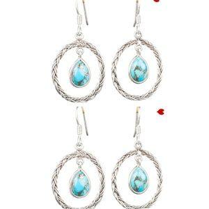 Blue Copper Turquoise Silver Crystal Earrings Boho